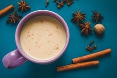 Ordeñe el té del masala con diversas especias en la tabla Fotos de archivo
