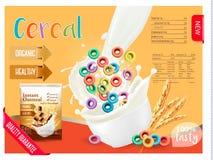 Ordeñe fluir en un cuenco con el cereal Elemento del diseño para empaquetar y hacer publicidad stock de ilustración