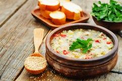 Ordeñe la sopa con las patatas, la quinoa y pimientas imagen de archivo