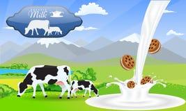 Ordeñe las galletas del bocadillo del chapoteo y los campos hermosos de la montaña y del prado del paisaje de la naturaleza con l ilustración del vector