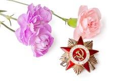Orde van de Patriottische Oorlog met roze anjers Royalty-vrije Stock Foto's