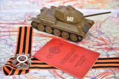 Orde van de Patriottische Oorlog in St George boog, oud Sovjetm Stock Foto