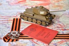 Orde van de Patriottische Oorlog in St George lint, een militaire identiteitskaart Stock Foto's