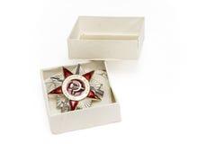 Orde van de Patriottische Oorlog van de tweede graad in een doos Stock Foto's