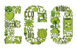 Ordeco med miljö- symboler Royaltyfri Bild