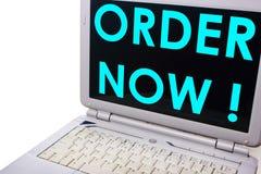 A ordem agora, palavras de mercado do negócio cita o conceito imagens de stock royalty free