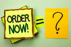 Ordem da escrita do texto da escrita agora Registro do produto da loja da promoção de venda do negócio da ordem de compra da comp fotos de stock