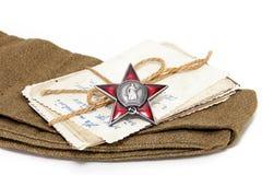 Ordem da estrela vermelha, fotografias velhas, tampão de campo Foto de Stock