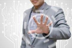 A ordem do homem de negócios a obstruir para protege os dados Fotografia de Stock Royalty Free