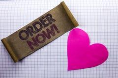 Ordem do texto da escrita agora Registro do produto da loja da promoção de venda do negócio da ordem de compra da compra do signi foto de stock royalty free