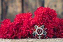 A ordem soviética da segunda guerra mundial, Victory Day conceito do cartão do 9 de maio Imagens de Stock Royalty Free