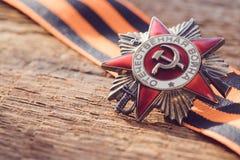 A ordem soviética da segunda guerra mundial, Victory Day conceito do cartão do 9 de maio Fotografia de Stock Royalty Free