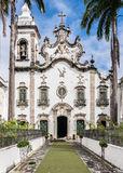 Ordem Terceira do Carmo Basilica Recife Brazil. The facade of the baroque ordem terceira do carmo church with its single bell tower and palm trees in Recife Royalty Free Stock Images