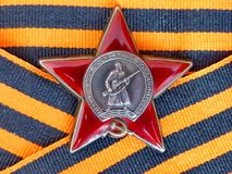 Orden του κόκκινου αστεριού ` ` στην κορδέλλα του ST George ` s closeup Παππούς βραβείων heirloom μνήμη στοκ φωτογραφία με δικαίωμα ελεύθερης χρήσης