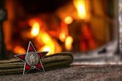 Orden de la estrella roja Ruso Transl de la tarjeta Imagen de archivo libre de regalías