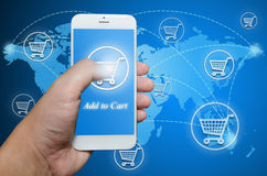 Orden de las compras vía el teléfono elegante Imagen de archivo