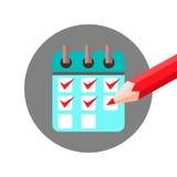 Orden del día de la lista de verificación con el control Mark Icon Imágenes de archivo libres de regalías