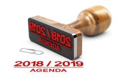 Orden del día o planeamiento 2018 2019 sobre el fondo blanco Foto de archivo libre de regalías