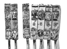 Orden MIN BERÄTTELSE med gammal skrivmaskinshammaremakro royaltyfri bild