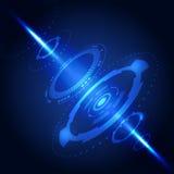 ordenador abstracto azul de la tecnología del fondo 3D, ejemplo del vector Imagenes de archivo