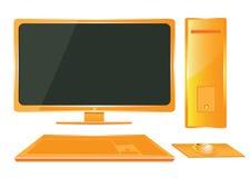 Ordenador anaranjado. Imagenes de archivo