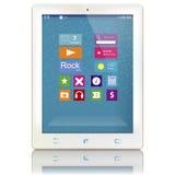 Ordenador blanco de la tableta con los iconos del color en la exhibición Imágenes de archivo libres de regalías