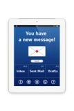 Ordenador blanco de la tableta con un interfaz del correo. Imagenes de archivo