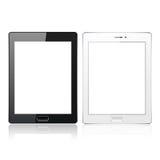 Ordenador blanco y negro de la PC de la tableta con la pantalla en blanco en el fondo blanco Plantilla realista Vector Fotos de archivo