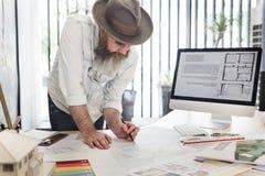 Ordenador C de Creative Occupation Blueprint del arquitecto del estudio del diseño Foto de archivo