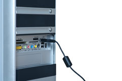 Ordenador, cable, aislado, PC Fotos de archivo