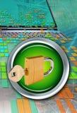 Ordenador, candado y clave Foto de archivo