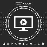 Ordenador con el icono del botón de reproducción stock de ilustración