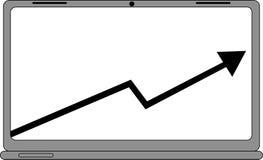 Ordenador con el icono del gráfico de las ventas del negocio Imágenes de archivo libres de regalías