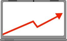 Ordenador con el icono rojo del gráfico de las ventas del negocio Foto de archivo