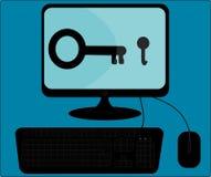Ordenador con la forma de la seguridad Foto de archivo