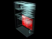 Ordenador con la placa madre visualizada ilustración del vector