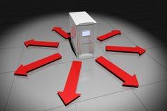 Ordenador con las flechas rojas Imagenes de archivo