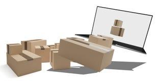 Ordenador 3d-illustration de los paquetes de la entrega ilustración del vector
