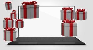 Ordenador 3d-illustration de los paquetes de los regalos de Navidad ilustración del vector