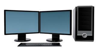 Ordenador de 2 monitores aislado Fotografía de archivo