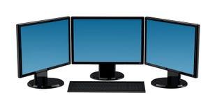 Ordenador de 3 monitores aislado Fotografía de archivo