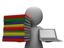 Ordenador de With Books And del estudiante que muestra la educación Imagen de archivo