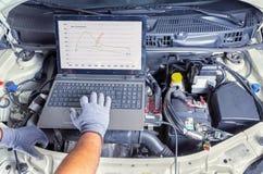 Ordenador de diagnóstico del coche Imágenes de archivo libres de regalías