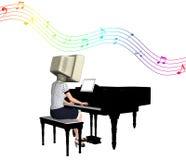 Ordenador de la CRT que juega el ejemplo del piano Imagenes de archivo