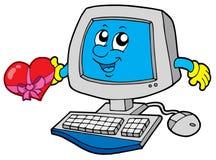 Ordenador de la historieta con el corazón Imagenes de archivo