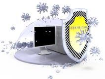 Ordenador de la protección del virus Imagenes de archivo