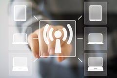 Ordenador de la señal de la conexión del web de Wifi del botón del negocio imagen de archivo