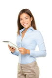 Ordenador de la tablilla de la mujer de negocios imagenes de archivo