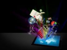 Ordenador de la tablilla de la pantalla táctil. Imagen de archivo libre de regalías