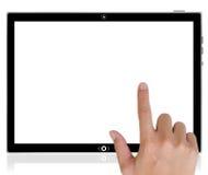 Ordenador de la tablilla de la PC y empujar un botón manualmente. Fotografía de archivo libre de regalías